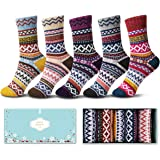 Womens Wool Socks 5 Pack Thick Knit Vintage Winter Warm Cozy Crew Socks Gifts Multicolor With Box