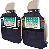 "SRAMI Kick Mats Car Seat Back Protectors Back of Seat Organizers 2 Pack XL with 1 Tissue Box Clear 13"" iPad Holder Large Stor"