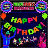 Neon Birthday Decorations. Happy Birthday Banner! UV Reactive glow in the dark balloon cutouts. Happy Birthday Sign Black Lig