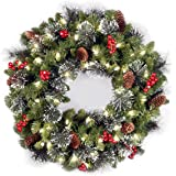 National Tree 24 Inch Crestwood Spruce Wreath with Silver Bristles, Cones, Red Berries and 50 Battery Operated Warm White LED