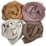 MANSHU 4PCS Women Soft Cotton Hemp Scarf Shawl Long Scarves,Scarf and Wrap,Fancy Stylish Hijab,Big Head Scarves Muslin