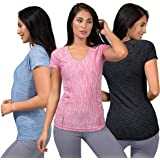 90 Degree By Reflex Athletic Fit Performance Tops 3 Pack - Moisture Wicking Yoga Top Workout Shirts for Women