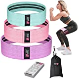 ShapEx Fabric Resistance Bands Set of 3 Non-Slip Booty Bands for Hip Circle Workout and Gym Fitness Exercise with Carry Bag a