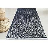 Chardin home 100% Cotton Diamond Area Rug Fully Reversible, Size - 3'x5', Machine Washable, Black/White