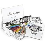 Crayola Color Escapes Coloring Pages & Pencil Kit, Nature Edition, 12 Premium Pages, 12 Fine Line Markers, 50 Colored Pencils