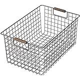 パール金属 バスケット ブラウン Lサイズ ワイヤーバスケット 木柄 N-8321