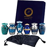 Keepsake Cremation Urns, Blue (6pc), Small Funeral Urns for Human Ashes w/Velvet Box, by Fedmax.