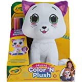 "Crayola Deluxe Color 'N Plush Kitty, 10"" Stuffed Animal - Draw, Wash, Reuse – with 2 Ultra-Clean Washable Fine Line Markers,"