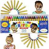 JOYIN 24 Colors Face Paint Safe & Non-Toxic Face and Body Crayons (Large Size 3 inch) Ultimate Party Pack Including 6 Metalli