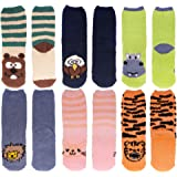 Super Soft Warm Cute Animal Non-Slip Fuzzy Cozy Crew Winter Home Socks - 6 Pairs - Value Pack