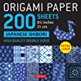 """Origami Paper 200 sheets Japanese Shibori 8 1/4"""" (21 cm): Extra Large Tuttle Origami Paper: High Quality, Double-Sided Sheets"""