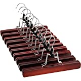 High-Grade Wooden Pants Hangers with Clips 10 Pack Non Slip Skirt Hangers, Smooth Finish Solid Wood Jeans/Slack Hanger with 3