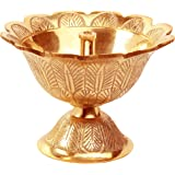 "Avador Handmade Brass Indian Puja Oil Lamp, Golden Diya Lamp Engraved Design Diya for Diwali Pooja (Devdas 2"" Set of 1)"
