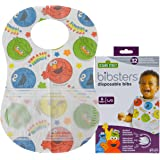 Bibsters Sesame Street Large Disposable Bibs with Patented Crumb-Catcher, Leakproof Liner, and Reusable Fastener -Age 6 month