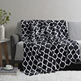 Madison Park Ogee Luxury Oversized Throw Black 60*70 Premium Soft Cozy Microlight for Bed, Coach or Sofa