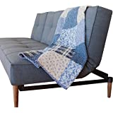 (Blue Symphony) - SOVA Blue Symphony Cotton Real Patchwork Quilted Throw (130cm x 150cm) Home Chic Multicolor Decorative Thro