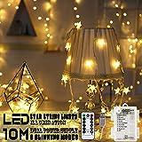 Areskey 星の形イルミネーションライト LEDフェアリーライト 10m 80球LEDストリングライト 防水電池式USB式8種類の切替モード スターガーランドライト 装飾 結婚式 ホームパーティー お誕生日パーティー クリスマスなどに最適 電飾(