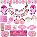 Pink Baby Shark Party Supplies First 1st Birthday for Girl, Shark Baby Birthday Decorations kit - 12 Month Photo Banner Baby