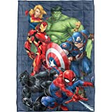 Marvel Avengers Super Hero Squad Weighted Blanket Measures 40x60 inches 5lbs, Kids Bedding Features Captain America, Iron Man