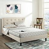 Zinus Modern Upholstered Button Tufted Platform Headboard Fabric Queen Bed Frame Base Mattress Foundation with Wooden Slats -
