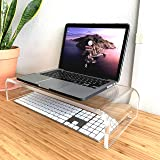 "TyTroy Elegant Heavy-Duty Clear Acrylic Monitor Stand (4"" Raiser/Shelf) for Healthy/Comforting Home or Office Computing (19"""