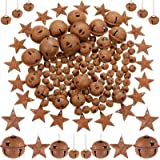 140 Pieces Christmas Rusty Jingle Bell Set, Includes 100 Rustic Small Bell DIY Craft Bell 20 Star Cutout Jingle Bell 20 Rusty