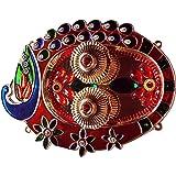 Ruci Store Peacock Shape Pooja Thali for Rakhi Platter Engagement Ring Platter Tilak Thali with 2 Attached Kumkum Holders
