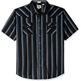 Ely & Walker Mens 15A2703-BLX Short Sleeve Stripe Western Shirt - Big Stripes Short Sleeve Button-Down Shirt