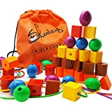 Skoolzy JUMBO PRIMARY STRINGING BEAD SET with 36 Lacing Beads for Toddlers and Babies 4 Strings Tote Busy Bag Ideas Guide - O