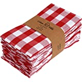 Urban Villa Buffalo Check Plaid,Premium Quality,Dinner Napkins, 100% Cotton, Set of 12, Size 20X20 Inch, Red/White Oversized