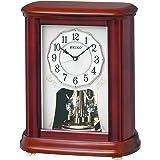 セイコー クロック 置き時計 電波 アナログ 回転飾り 木枠 茶 木地 BY242B SEIKO