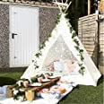 Avrsol Huge Teepee 85 inch Height Luxury Lace Tent Super Large with Gift 6.5Ft Rose Vine Flowers