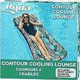 Aqua 18-Pocket Inflatable Contour Lounge, Luxury Fabric, Suntanner Pool Float, Heavy Duty, Teal Ferns