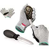Rockland Guard Oyster Shucking Set- High Performance Level 5 Protection Food Grade Cut Resistant Gloves with 3.5'' Stainless