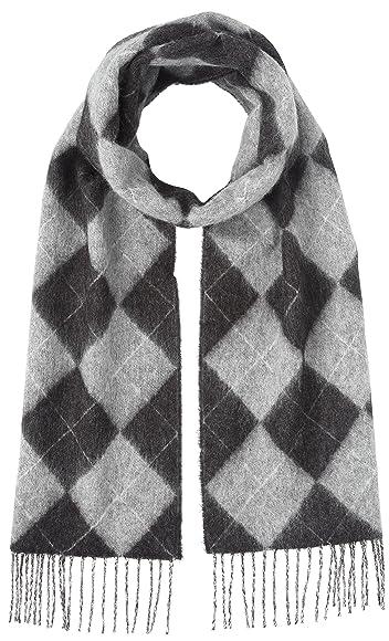 Argyle Wool Angora Scarf 118-35-0219: Mid Grey
