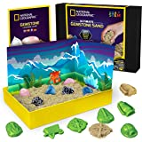 NATIONAL GEOGRAPHIC Gemstone Play Sand - 2 lb of Play Sand, 6 Molds, 6 Real Gemstones, A Kinetic Sensory Sand Activity Kit fo