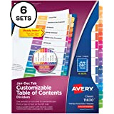 Avery Monthly Dividers for 3 Ring Binders, Customizable Table of Contents, Multicolor Tabs, 6 Sets (11830)