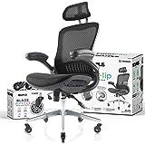 NOUHAUS Ergo Flip! Mesh Computer Chair - Black Rolling Desk Chair with Retractable Armrest and Bonus Blade Wheels! Ergonomic