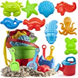 Prextex 19 Piece Beach Toys Sand Toys Set, Bucket with Sifter, Shovels, Rakes, Watering Can, Animal and Castle Molds in Draws