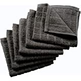 Nirisha Cotton Terry Dish Cloth - 6 Pack - Grey - 12 x 12 Inches - 400 GSM - 100% Ringspun 2 Ply Cotton - Box Weave - Soft &