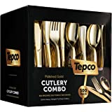 300 Gold Plastic Silverware Set - Plastic Gold Cutlery Set - Disposable Flatware Gold - 100 Gold Plastic Forks, 100 Gold Plas