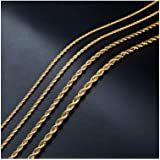 18k Real Gold Plated Twist Chain Necklace Stainless Steel Necklace 16-38 Inches Men Women Jewellery