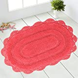 Chardin Home - 100% Pure Cotton - Crochet Oval Bath Rug, 21''x34'' with Latex Spray Non-Skid Backing, Coral