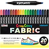 Super Markers 20 Unique Colors Dual Tip Fabric & T-Shirt Marker Set-Double-Ended Fabric Markers with Chisel Point and Fine Po
