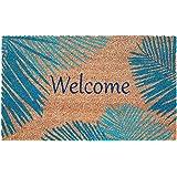 """Liora Manne NTR12221503WEL Natura Tropical Palm Border Blue Outdoor Welcome Coir Door Mat, 18"""" X 30"""","""