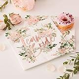 Ginger Ray Floral & Rose Gold Foiled Team Bride Napkins - 16 Pack - Floral Hen