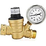 Renator M11-0660R Water Pressure Regulator Valve. Brass Lead-Free Adjustable Water Pressure Reducer with Gauge for RV Camper,