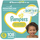 Baby Diapers Size 6, 108 Count - Pampers Swaddlers, ONE MONTH SUPPLY (Packaging and Prints on Diapers May Vary)