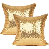 YOUR SMILE Pack of 2 New Luxury Series Gold Blink Decorative Glitzy Sequin & Comfy Satin Solid Throw Pillow Cover Cushion Cas
