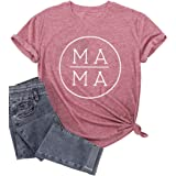 Mama Shirt Women Mama Letter Printed T-Shirt Mom Life Short Sleeve Casual Graphic Tees Tops Mother's Day Shirts Gift